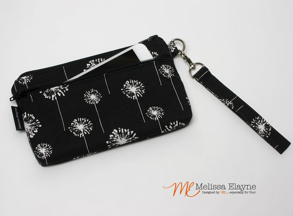iPhone 7 Plus Wristlet, XLarge Clutch -Black Dandelion
