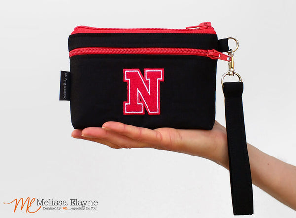 "Embroidery Included -Small Stadium Wristlet, 4.5"" x 6.5"" Clutch"