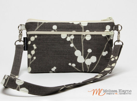 Large Crossbody Purse for iPhone 7 Plus -Pussy Willow Print - Melissa Elayne
