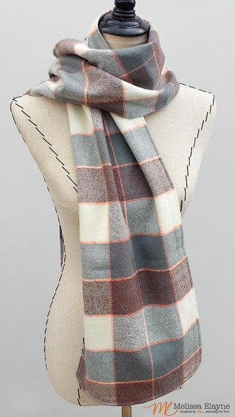 Flannel Scarf for Her, Gray & Orange Plaid