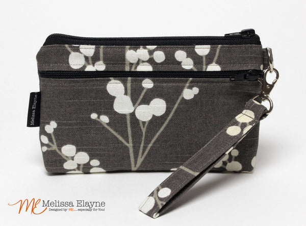 Large Wristlet, iPhone 6 Plus Clutch -Pussy Willow - Melissa Elayne - 1