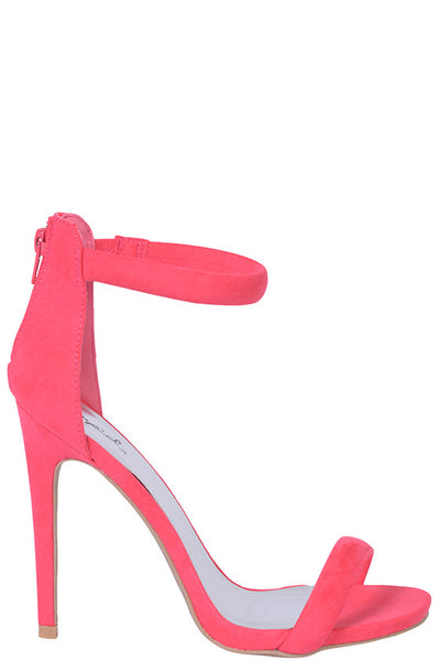 Hot Pink Faux Suede Single Strap Heels