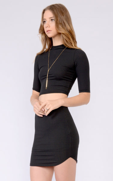 2 piece-black-ribbed-croptop-skirt