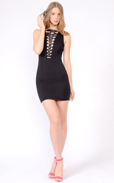 Front V Neck Lace up Dress