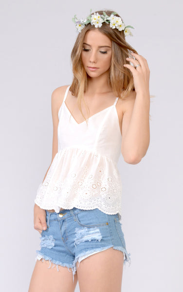 White Eyelet Embroidered Top