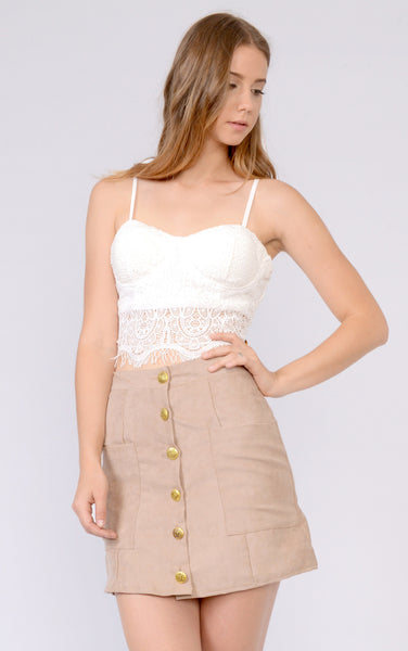 Suede High Waisted Button Up Skirt