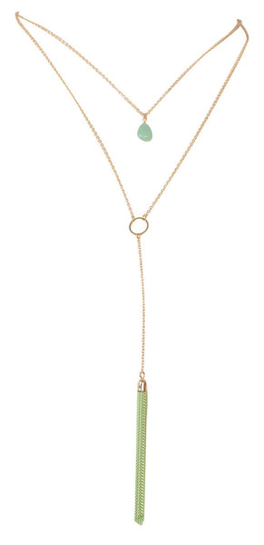 Jade on Jade Tassel Necklace