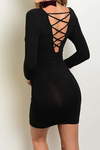 OPEN BACK BODYCON DRESS