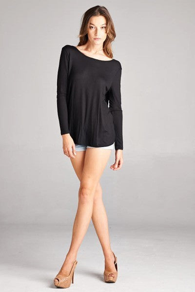 BLACK OPEN BACK LONG SLEEVE TOP
