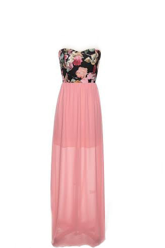 Peach Sweetheart Maxi Dress