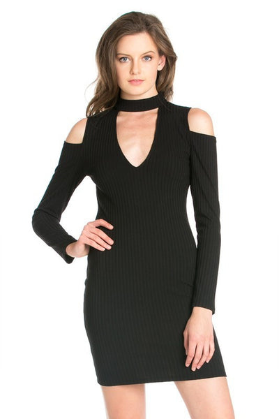 BLACK ZIPPED BACK DRESS