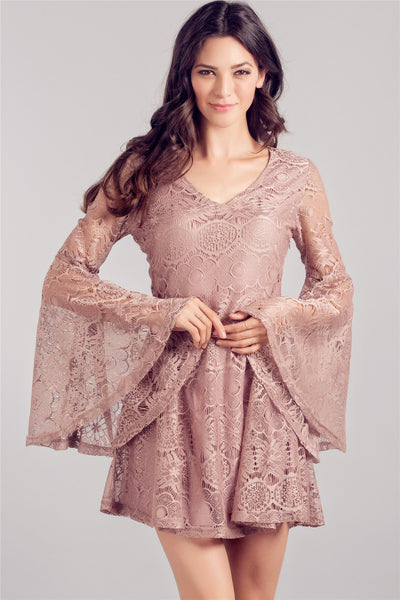 TAUPE LACE LONG SLEEVE SHIFT DRESS