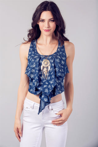 Denim Tank Top and Necklace