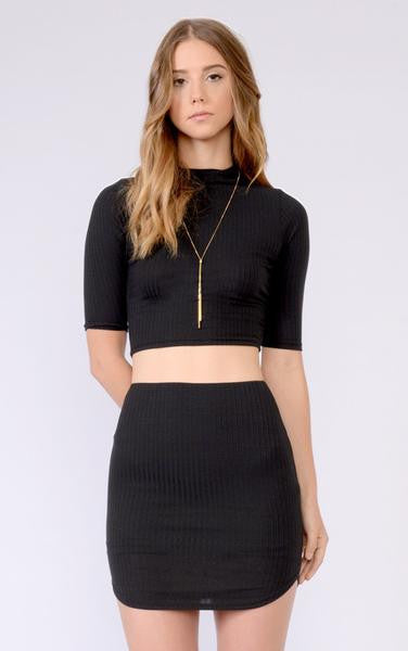2 Piece-black-ribbed-croptop-skirt-front