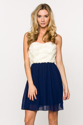 Navy Sweatheart Rose Dress