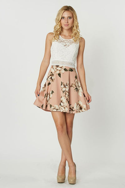 Skater Dress in Floral Print and Lace