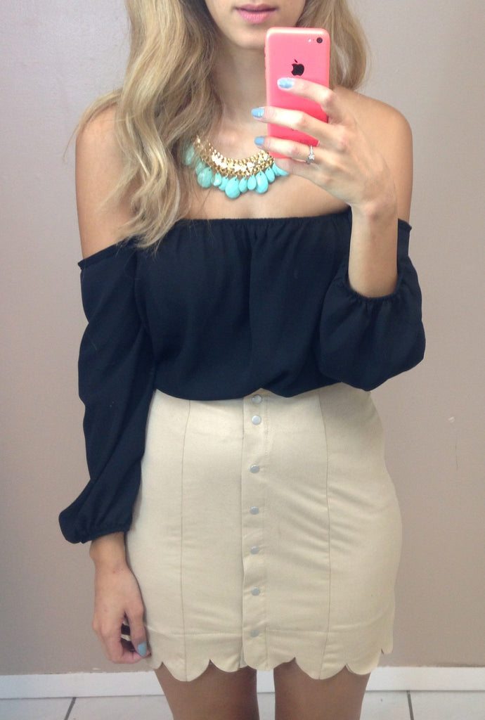 Button Suede Skirt