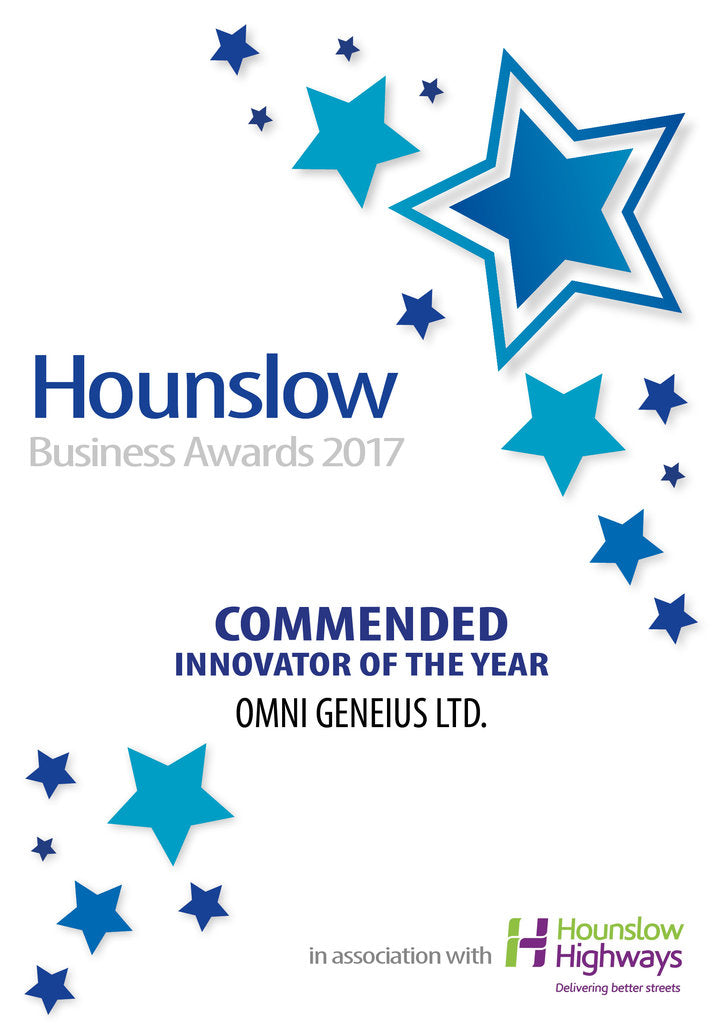 Omni Geneius Ltd. Award Certificate - Innovator of the Year.