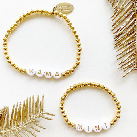 Mama and Mini Matching Gold Beaded Bracelet Set