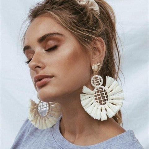 "Raffia Wrapped ""Cleo"" Tassel Earrings"