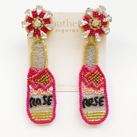 Beaded Statement Earrings - Champagne Rose' Bottle Earrings