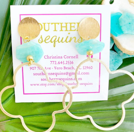 "Gold and Amazonite Quatrefoil Drop ""Lucky"" Earrings"