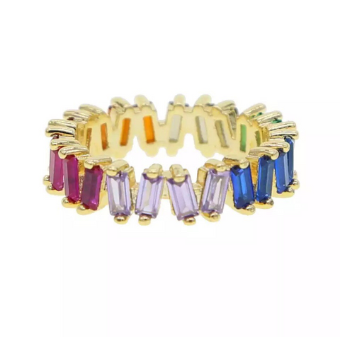 Baroque Rainbow Baguette Eternity Band