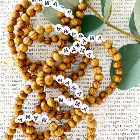 "Wood and Alphabet Beaded ""Mama"" Bracelet"