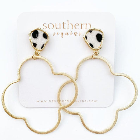 Leopard and Quatrefoil Gold Hoop Earrings