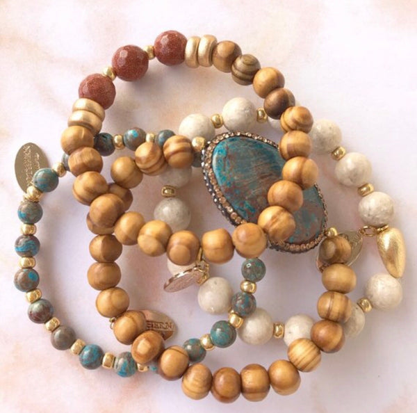 Desert Azul Olive Wood and gemstone beaded bracelet stack