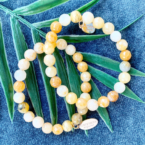 "Semi Precious Yellow Jade Beaded ""Jill"" Bracelet"