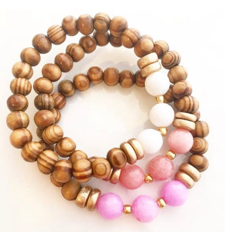 Pink Sands Stack - Set of three Jess bracelets with olive wood and spring jade / Bridesmaid Bracelet