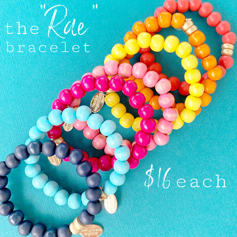 "Rainbow Wooden Bead ""Rae"" Stackable Stretchy Bracelets"
