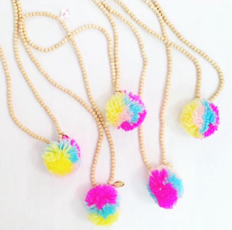 Sloan Necklace: Girls Tie-Die Rainbow Pom Pom Necklace