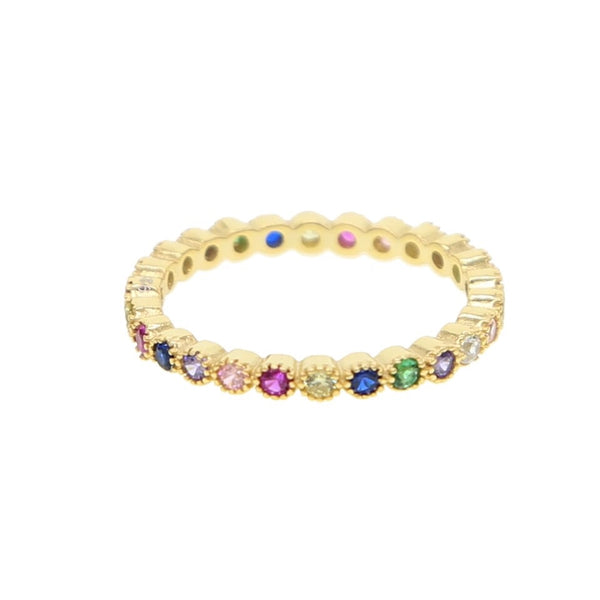 Dainty Pastel Circle Rainbow Infinity Band Ring