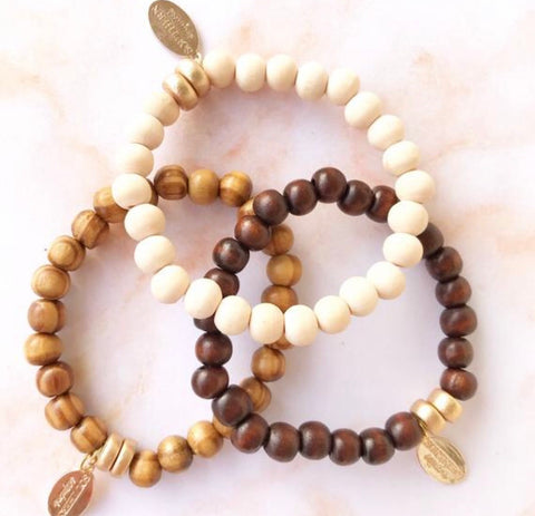"Wooden Beaded ""Basic"" Bracelet Stack"