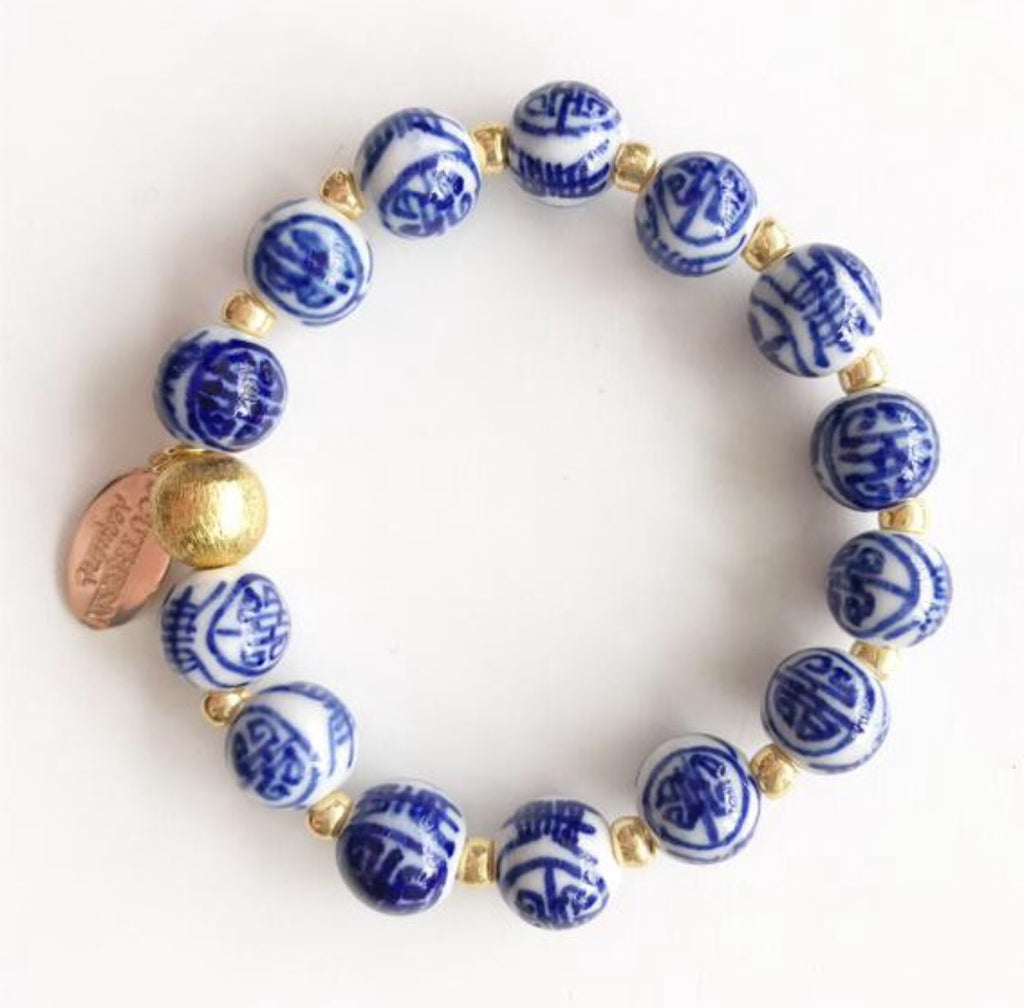 Blue and White Chinoiserie Jill Bracelet
