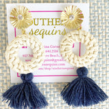Gold Post Rattan and Tassel Drop Earrings