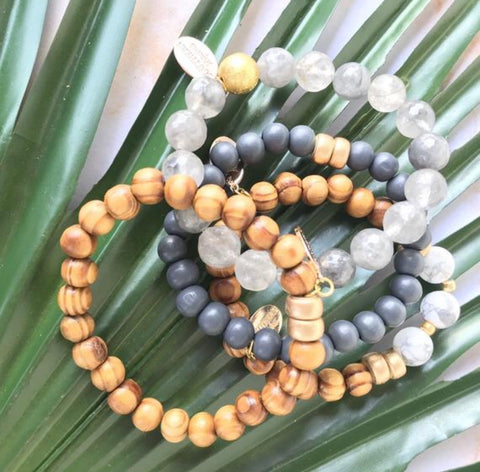 "Olive Wood and Smokey Quartz Beaded ""Stormy"" Bracelet Stack"