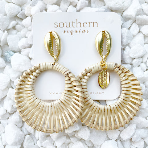 "Tropical Rattan ""Retro"" Hoop Earrings"