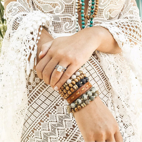 "The ""j-5"" Beaded Bracelet Stack"