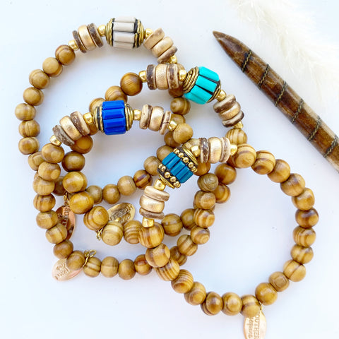 "Boho Tribal and Wood Beaded ""Ayja"" Bracelet"