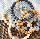 Stormy Skies Beaded Bracelet Stack