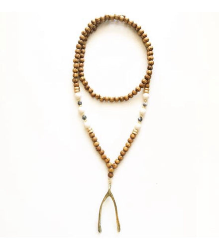 Abi Necklace: Antiqued Brass Boho Wishbone Necklace