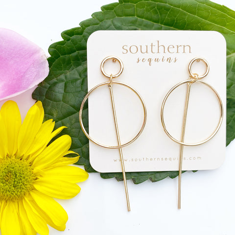Gold Minimal Geo Circle and Bar Earrings