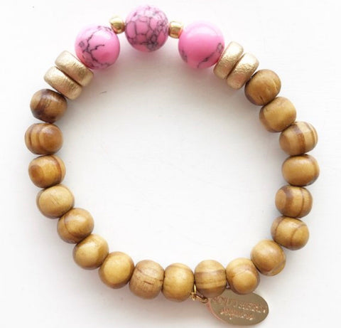 "Wooden Beaded Stretchy Stackable Boho ""Jess"" Bracelet"