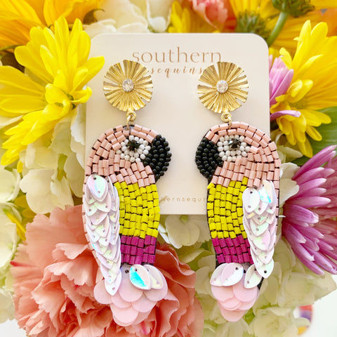 """Birds of a Feather"" Beaded Tropical Statement Earrings"