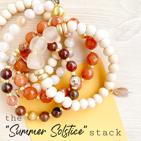 "The ""Summer Solstice"" wood, gemstone, and crystal beaded bracelet stack"