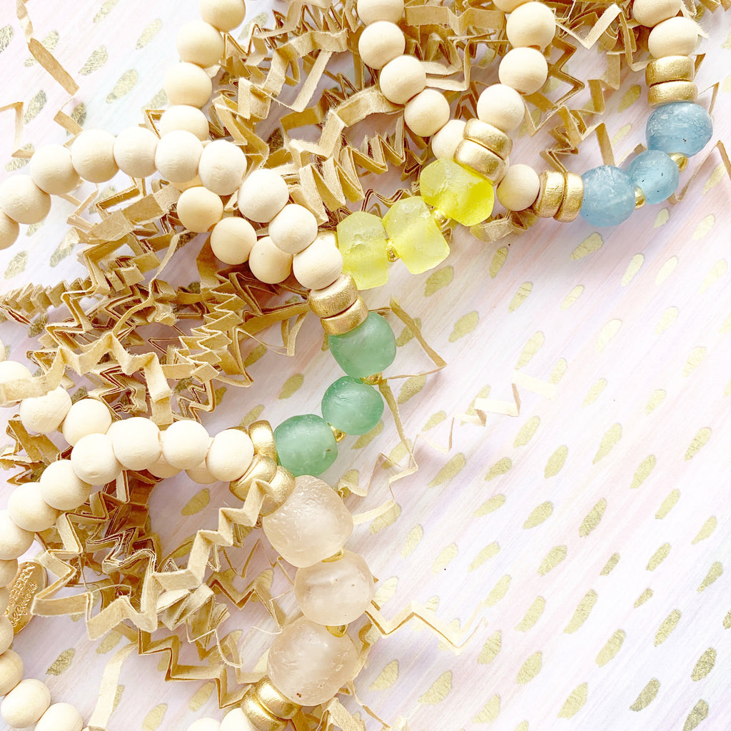 Emily Bracelet: Recycled African Glass and Wooden Beaded Bracelets