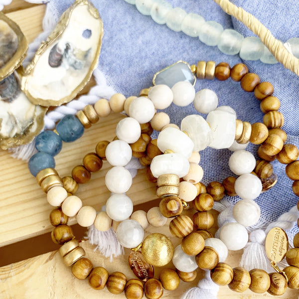 """Over the Moonstone For Blue"" Beaded Bracelet Stack"